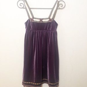 FREE PEOPLE PURPLE VELVET MINI DRESS XS